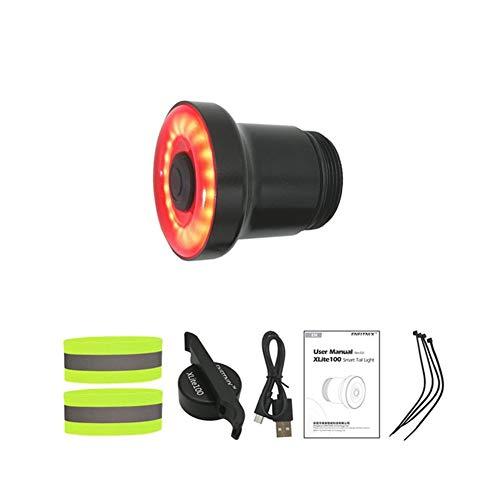 XLite100 - Juego de luces traseras para bicicleta con detección de frenos automática, linterna LED de carga USB, luces de bicicleta de carretera, accesorios recargables (color: SetE XLite100)