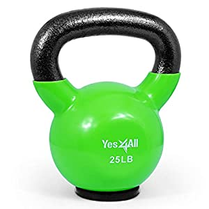 Yes4All Vinyl Coated Kettlebells – Weight Available: 5, 10, 15, 20, 25, 30, 35, 40, 45, 50 lbs (Q. 25lbs - Rubber Base - Green) by Yes4All
