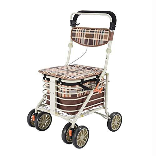 Z-SEAT Ayuda de Movilidad para Caminar Plegable, Andador, Andador con Asiento y Respaldo, Frenos bloqueables