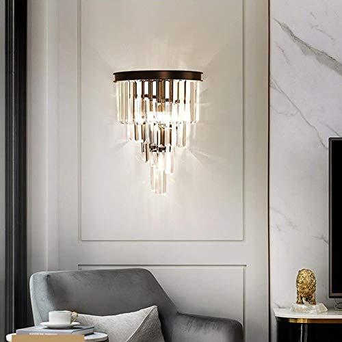 Miwaimao Lámpara De Pared De Cristal Moderna Nórdica Minimalista Villa De Lujo Restaurante del Hotel Comedor Sala De Estar Dormitorio 2 Bombilla 31 * 29 * 40 Cm Negro