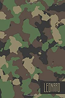 Leonard: Personalized Camouflage Journal for Buck or Duck Hunting or Personal Use | Military Style Line Notebook