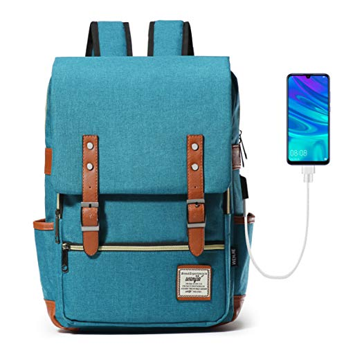 HapiLeap Laptop Vintage Backpack Water Resistant Business Travel School Rucksack Messenger Bag Fits 15.6 Inch Notebook for Men & Women (Blue)