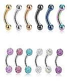 Tornito 12PCS 14G Short Bar Tiny Stainless Steel Belly Button Rings Navel Rings for Women Girls...