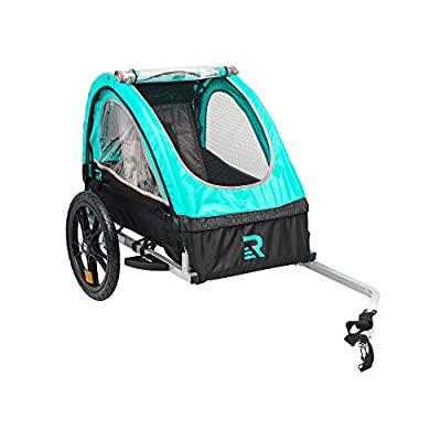 """Retrospec3356 Rover Kids Bicycle Trailer Single and Double Passenger Children's Foldable Tow Behind Bike Trailer with 16"""" Wheels, safety reflectors, and rear storage compartment, Teal"""