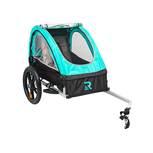 "Retrospec3356 Rover Kids Bicycle Trailer Single and Double Passenger Children's Foldable Tow Behind Bike Trailer with 16"" Wheels, safety reflectors, and rear storage compartment, Teal"