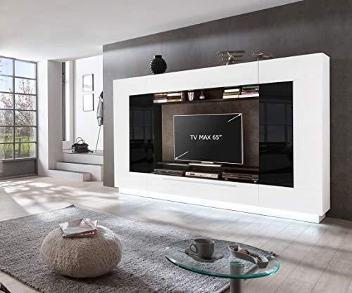 Homeface Wohnkombination 4-teilig Sensis VA-02 Front: MDF/Farbe: Front: Hochglanz Weiß/Korpus: Weiß/Schwarz - Ohne LED Beleuchtung - Ohne Dekoration