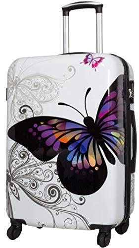 Koffer L Reise Trolley Schmetterling Butterfly Weiss Erweiterbar 67cm Bowatex