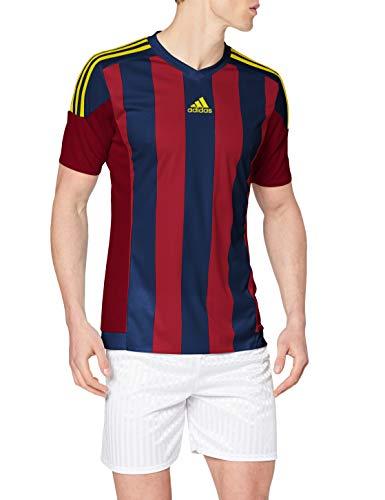 Adidas Striped 15 Camiseta de Manga Corta, Hombre, Collegiate Burgundy/Dark Blue/Yellow, L