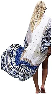 Bestyou Women's Floral Kimono Cardigan Long Beach Robe Dress Swimsuit Cover Up Swimwear