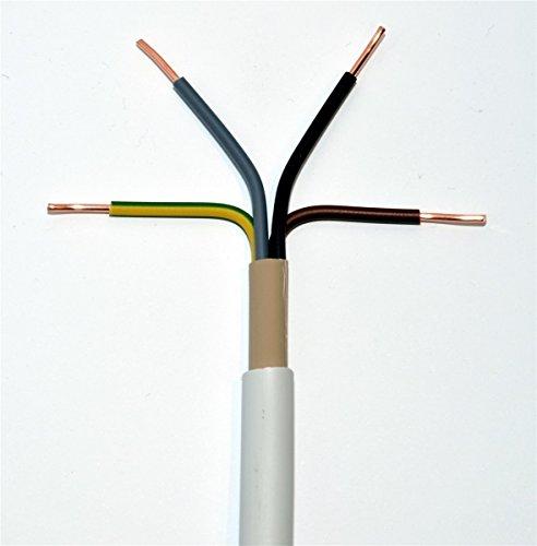 Meterware NYM-J 4x16 mm² RM (rund, mehrdrähtig) Mantelleitung grau Installationsleitung Feuchtraumleitung, jede Menge eine Länge