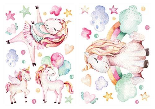 dekodino® Pegatina de pared Unicornio de acuarela con arco iris set decoración