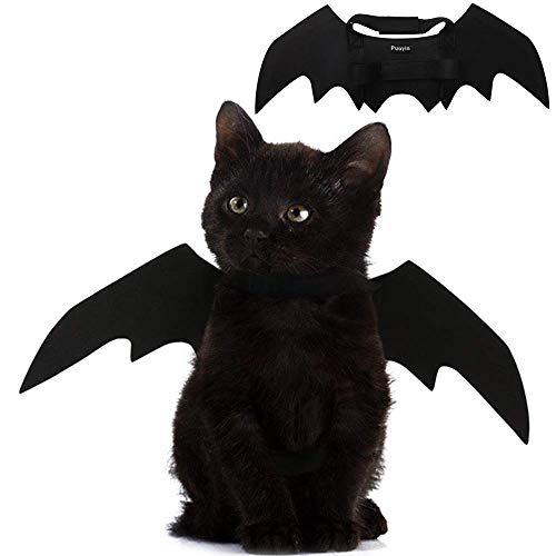 Pet Cat Bat Wings for Halloween Party Decoration, Puppy Collar Leads Cosplay Bat Costume,Cute Puppy...