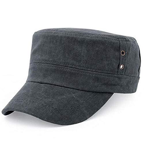 PPSTYLE Chamsgend Newly Design Hommes Casual Vintage Hat Hole Design Flat Top Military Caps Gris foncé