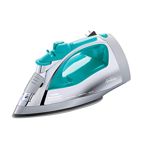 Image of Sunbeam Steammaster Steam Iron | 1400 Watt Large Anti-Drip Nonstick Stainless Steel Iron with Steam Control and Retractable Cord, Chrome/Teal: Bestviewsreviews