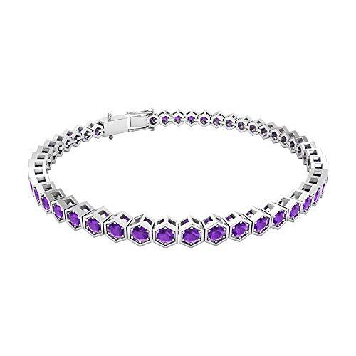Rosec Jewels 14 quilates oro blanco redonda violeta Amethyst