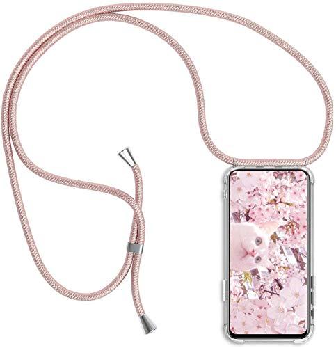 PekaTech Funda Transparente con Cordón para Apple iPhone 7 / iPhone 8 / SE 2020 - Carcasa con Cuerda y Esquinas Reforzadas con Correa - Elegante Case Cover con Collar de Cordón Cruzado, Oro Rosa