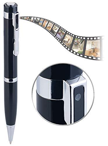 Somikon Mikrokamera: Kugelschreiber-Videokamera mit Blauer Mine und Foto-Funktion, Full HD (Kamera Stift)