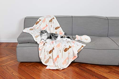 Kanguru 1151 Manta + Oso para Gatos, poliéster, Rosa/Blanco, Talla única, 2...
