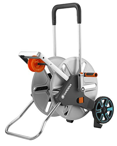 GARDENA AquaRoll L Easy Metal 18550-20 Carro portamanguera grande, capacidad de hasta 100m, muy estable, guía para manguera con bastidor metálico
