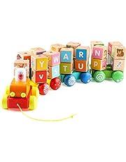 Jacootoys Peuter Trek langs Trein Houten ABC Auto Sorteerblok Stapelspel Montessori Voorschoolse Leren Educatief Speelgoed Set