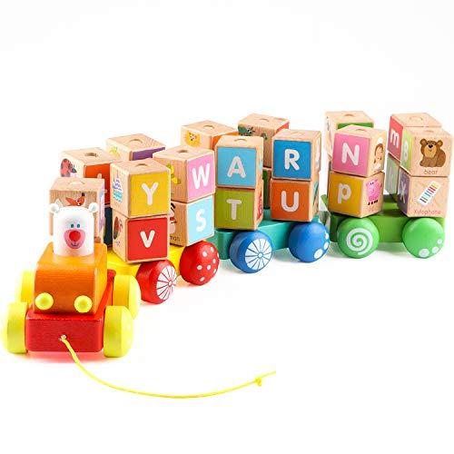 Jacootoys Trenes de Juguete Tren de Madera con Letras Alfabeto Bloque Juegos de Construcción Preescolar para Niños de 2 Años, 26 Piezas