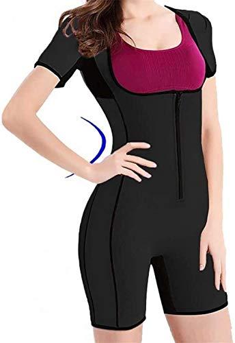 Traje de Neopreno Deportivo con Sudor de Cuerpo Completo para Mujer, Body de Entrenador de Cintura con Mangas Body Shaper Adelgazante para Perder Peso (Color : Black, Size : M)