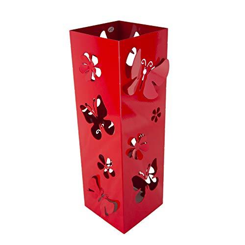 CAI & ZAI Portaombrelli Farfalle Quadrato con vaschetta Estraibile - Dimensioni 15x15x47 cm- Made in Italy- Design Moderno- Adatto Uso Interno e Esterno (Rosso)
