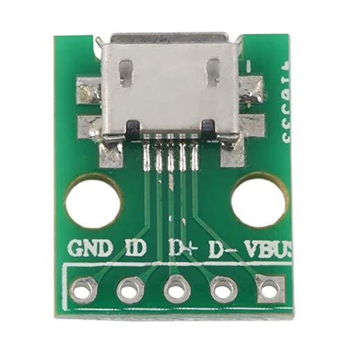 QinKingstore グリーンMICROUSB-DIPアダプター5ピンメスコネクターBタイプPCBコンバーターピンボード2.54スーパーディール15mmx13mmグリーン