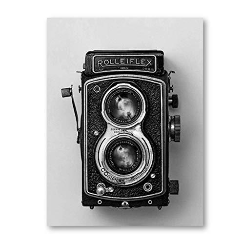 YXFAN Póster de cámara vieja Rolleiflex, impresión de cámara en blanco y negro, regalo Hipster, fotografía, arte de pared, pintura en lienzo, decoración-40x60cm sin marco