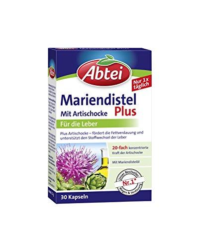 Abtei Mariendistelöl Plus Artischocke mit Vitamin E Kapseln, gesunde Verdauung, unterstützt den Stoffwechsel der Leber, 30 Stück