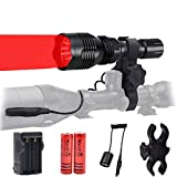 WINDFIRE WF802 Waterproof 350 Lumens 250 Yards Red Cree LED Coyote Hog Fox Predator Varmint Hunting Light Kits with Remote Pressure Switch & Scope Mount Holder & Spare 18650 Battery and Charger