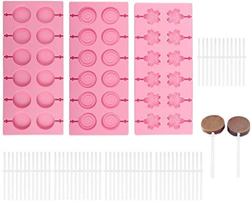 3 Pezzi Silicone Lollipop Mold Stampo per Cioccolato Lecca-Lecca Silicone Lollipop Mold Stampo per Lecca-Lecca in Silicone per Bambini e Cioccolato
