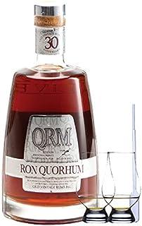Ron Quorhum QRM 30 Jahre Dominikanische Republik 0,7 Liter  2 Glencairn Gläser  Einwegpipette 1 Stück