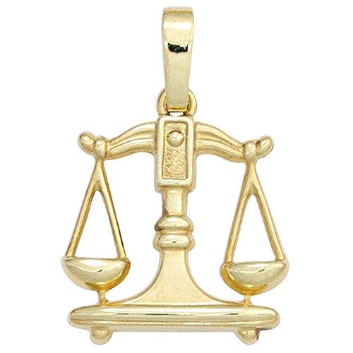 Sternzeichen Anhänger Waage 333 Gold Gelbgold Einhänger Halsschmuck Damen