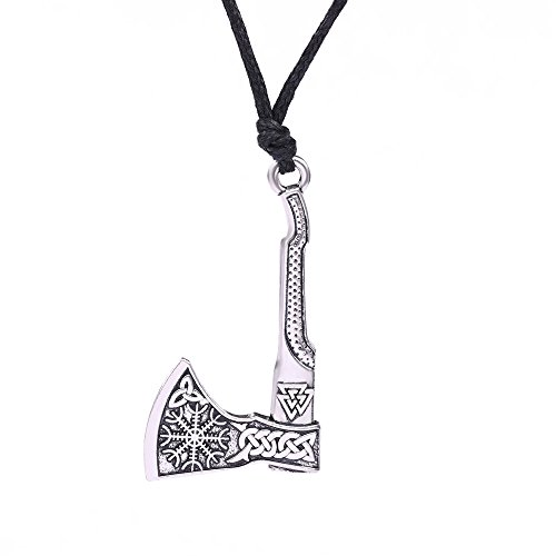 Vintage Norse Viking Axe with Valknut Celtic Knot Helm of Awe Aegishjalmur Pendant Talisman Necklace (Antique Silver)