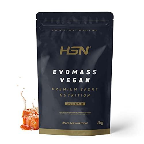 Gainer Ganador de Peso Vegano Evomass Vegan de HSN   Proteínas y Carbohidratos   Aminograma Completo con Proteína de Guisante + Soja + Arroz   NO-GMO, Sin Gluten ni Lactosa   Caramelo Salado   1 Kg