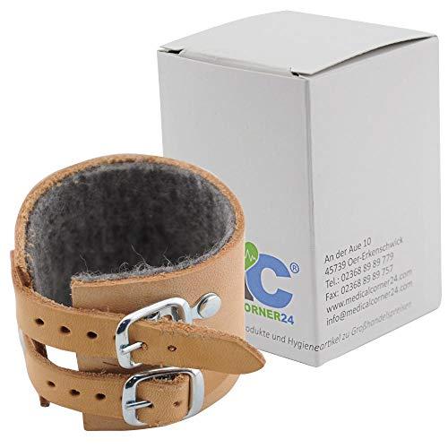MC24® Handgelenkriemen Handgelenk Bandage Leder, gefüttert, 2 Schnallen, Gr. 18, 1 Stück