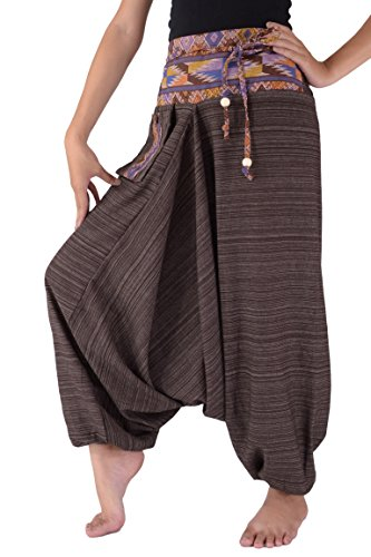 Harem Pants for Women and Men Hippie Pants Traditional Loose Plus Size 100% Cotton (Brown)