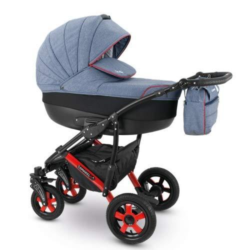 Camarelo SEVILLA 3in1 mit Babyschale, Kombikinderwagen - Kinderwagen - Buggy Farbe XSE-6 grau...