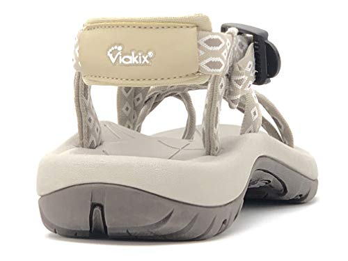 Viakix Walking Sandals Women – Comfortable Athletic Sandles with Arch Support, for Hiking, Outdoors, Water, Sports Trekking Beige