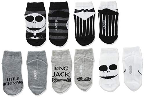 Disney Baby Nightmare Before Christmas 5 Pack Shorty Socks, Black White Multi, 2-4 Toddler