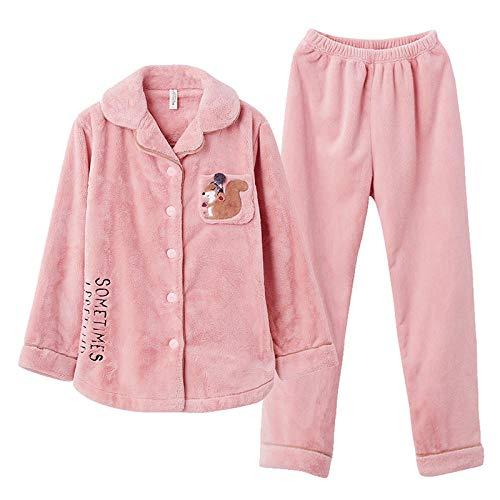 Bayrick Pijama de Mujer de Franela chándal de Invierno-XL_Pasta de Frijol Rojo