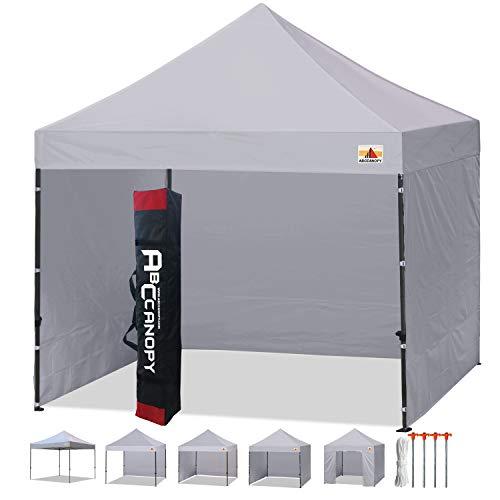ABCCANOPY 3 x 3 Tende Commerciali Pop up del Mercato più 6 Fianchi Rimovibili, Sacchetto di Trasporto, 4 Sacchetti di Peso. Rete per Schermo e Mezza Parete, 3 m