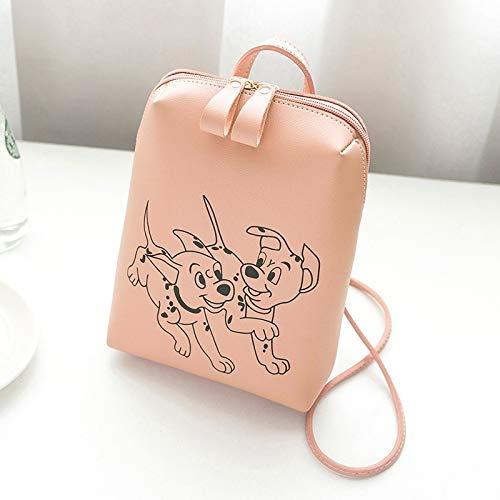 G-rf Ladies Simple Printed Cute Dog Pattern Laptop Shoulder Bag Backpackage (Color : Pink)
