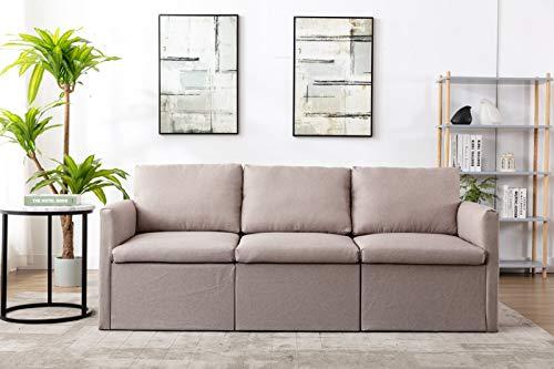 Jeerbly Sofa 3 Sitzer, Couch mit Bezug aus Leinenimitat, Beliebige Kombination von Sofa, Best Ecksofa,Polsterm?Bel für kleine Wohnungen, G?stezimmer, Jugendzimmer, mit Holzgestell,