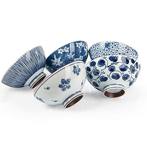 SONGYU Cuenco de arroz de Porcelana Azul y Blanca-Cuenco de cerámica Retro-Cuenco de Fideos-Resistente a Altas temperaturas, Conveniente y práctico Cuenco de 4.5 Pulgadas 5 Piezas