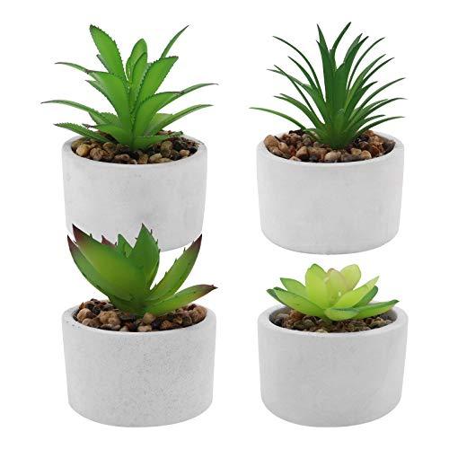 Seahelms Plantas artificiales para interiores en macetas, mini plantas artificiales suculentas artificiales decoración en maceta para el hogar y la oficina (4 piezas)