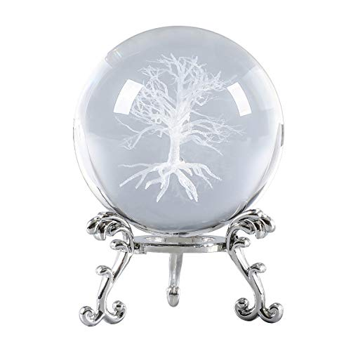 Crystal 2.4 inch (60mm) Tree of Life 3D Carving Crystal Ball with Sliver-Plated Flowering Stand,Fengshui Glass Ball Home Decoration (Style11)
