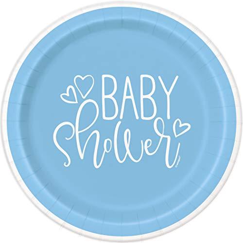 Unique Party 73385 - Assiettes en Carton - 23 cm - Baby Shower À Thème Cœurs Bleus - Paquet de 8