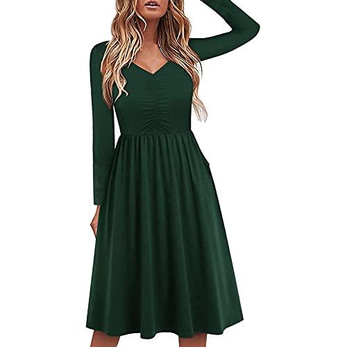 Vestido de verano para mujer, manga larga, cuello en V, largo hasta la rodilla, vestido de cóctel, con falda plisada, vestido sólido, vestido envolvente, vestido de fiesta, verde, S